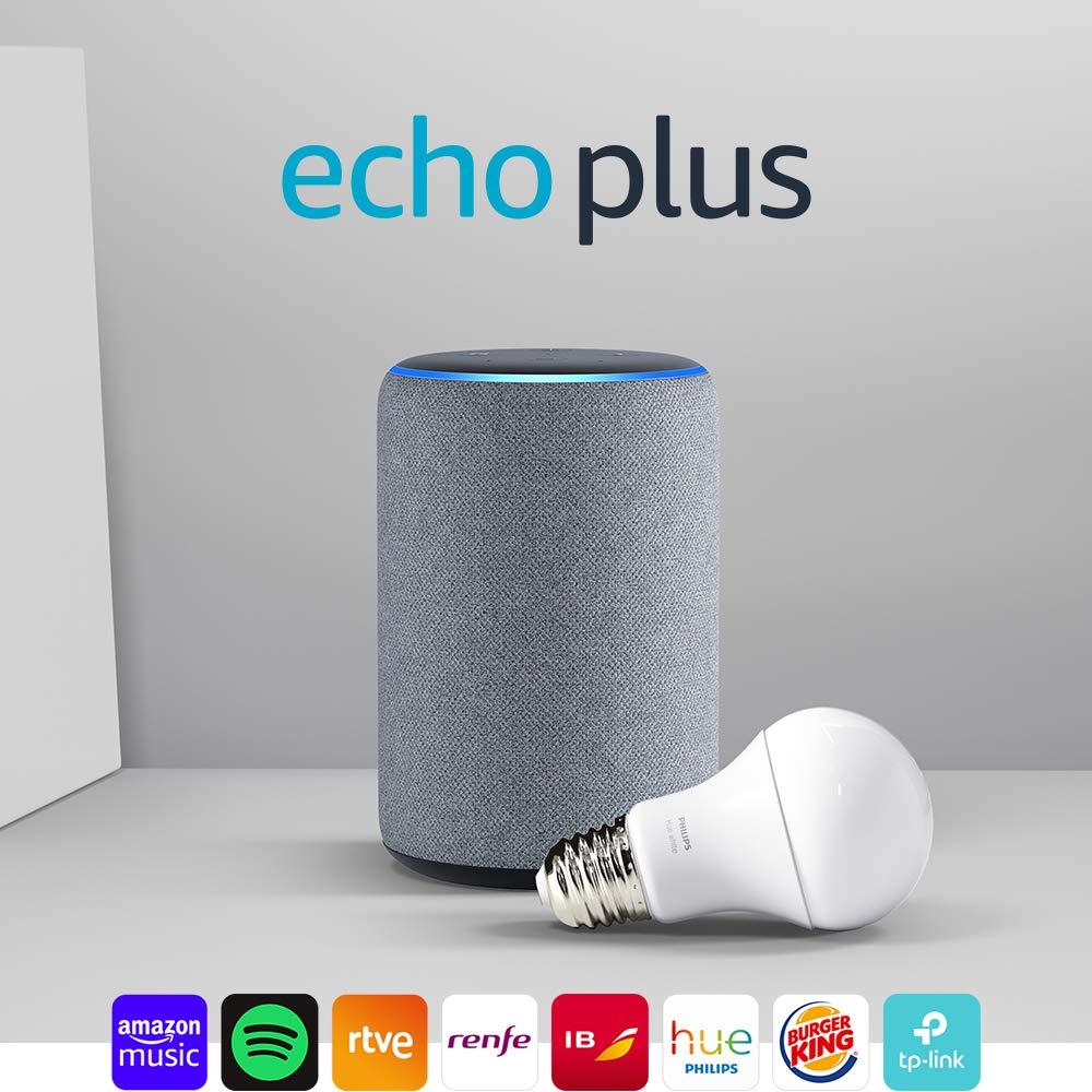 Pack Echo Plus (2.ª generación) + Philips Hue White Bombilla LED E27 por sólo 99,99€ ¡¡Ahorras 50€!!