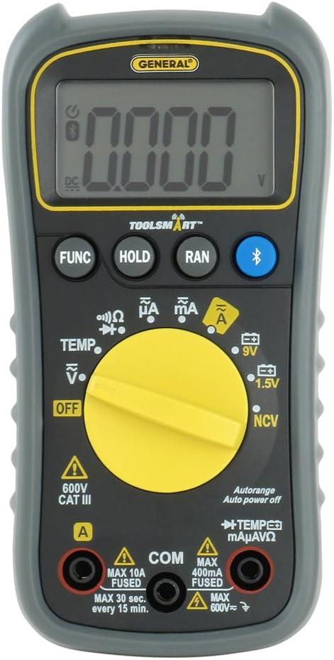 General Tools ToolSmart Multímetro Digital Conectado Bluetooth, Detección Automática con Detector NCV, CAT III 600V Clasificación de Seguridad (TS04)