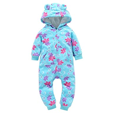 94a15b4d2 GONKOMA Autumn Winter Infant Toddler Boys Girls Thicker Warm Hooded Romper  Jumpsuit Outfit Kid Clothes (