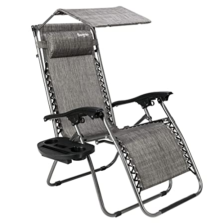 Bonnlo Zero Gravity Chair with Canopy Patio Sunshade Lounge Chair, Adjustable Folding Shade Reclining Chairs with Cup Holder and Headrest for Beach Garden Grey