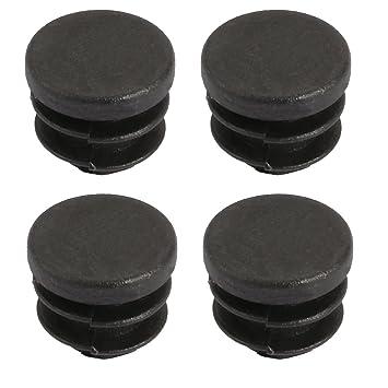 paquete de 4 de pl/ástico negro y acanalados Tapones de inserci/ón redondos