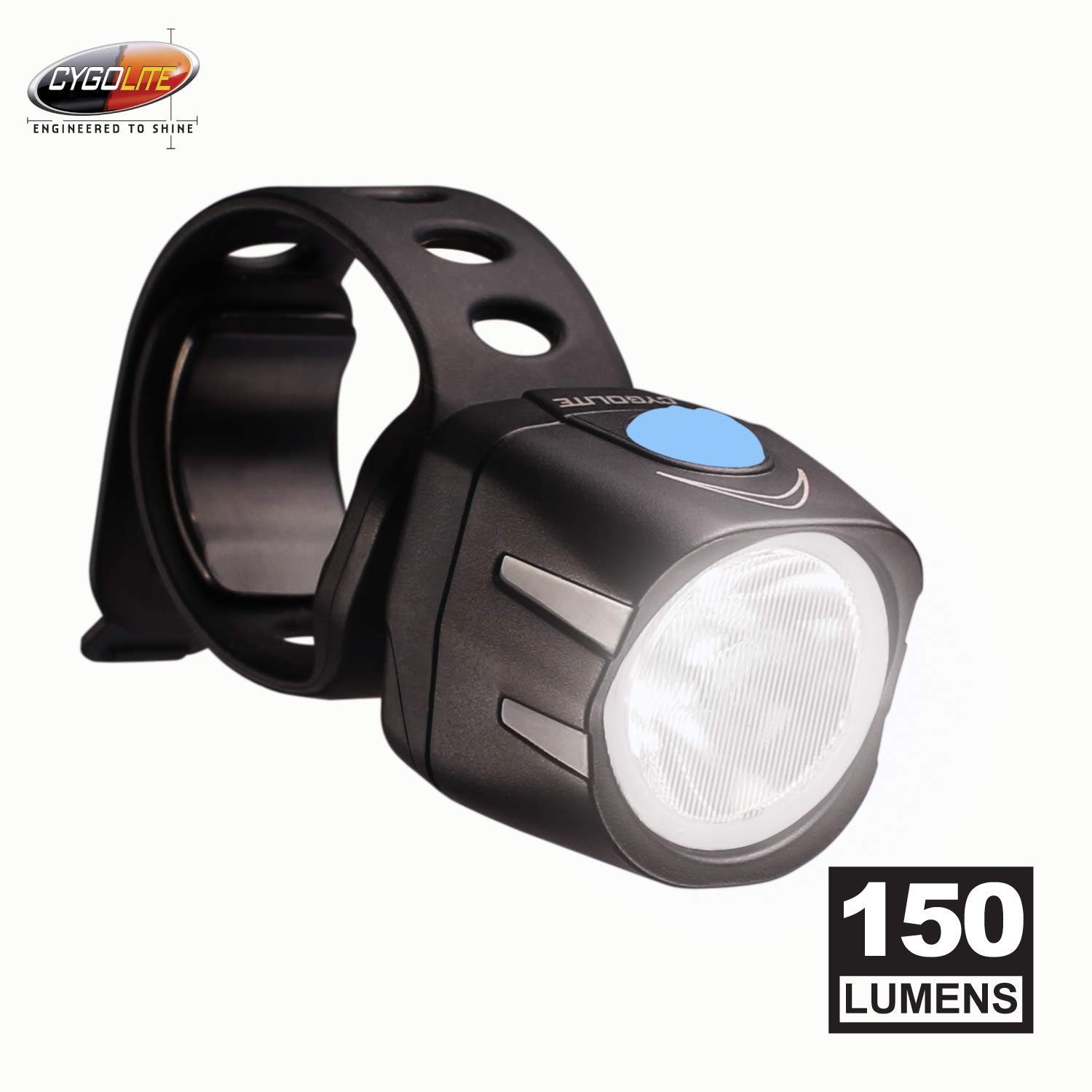 Cygolite Dice HL 150 Lumen Bike Light 6 Night 2 Daytime Modes Ultra Compact Design IP64 Water Resistant Sturdy Flexible Mount USB Rechargeable Headlight for Aero Road Commuter Bicycles