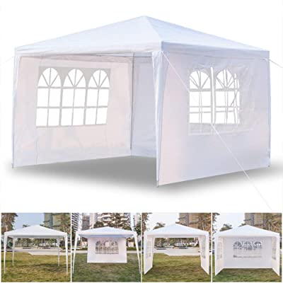 Panow 3 Sides Outdoor Wedding Party Tent, Outdoor Canopy Tent Portable Waterproof Heavy Duty Gazebo Tent, Sun Snow Rain Shelter Gazebo Canopy Tent, 10x10 : Garden & Outdoor