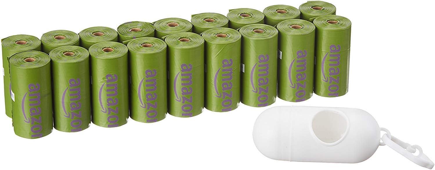 AmazonBasics - Bolsa mejorada para heces de perro con aditivos EPI y dispensador y pinza para correa - 270 unidades, lavanda