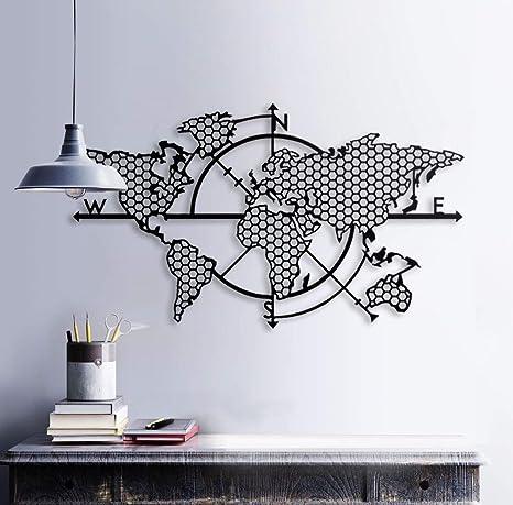 BAUPOR - Brújula de metal para pared con mapa del mundo 3D ...