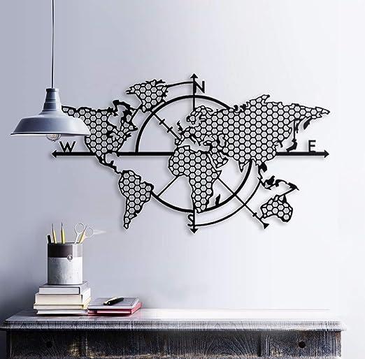 Mapa del mundo para decoración de pared de metal, decoración de pared de metal (99 x 57 cm): Amazon.es: Amazon.es