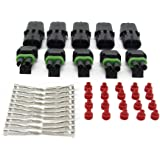 MUYI 10 Kit 2 Pin Way Waterproof Electrical Connector Green Seal Red Insert 1.5mm Series Terminals Heat Shrink Quick Locking Wire Harness Sockets