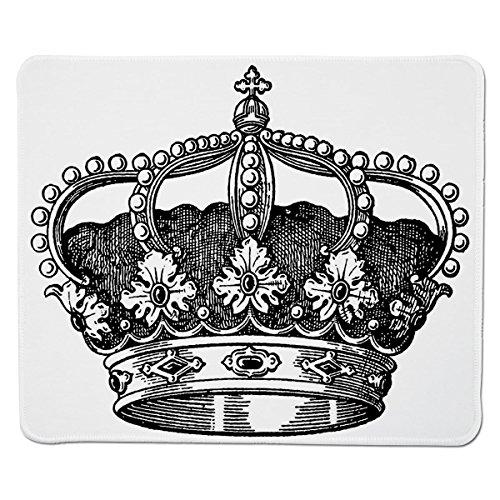 Mouse Pad Unique Custom Printed Mousepad [ Queen,Antique Royal Crown Kingdom Emperor Ruler Czar Symbol Monarchy Authority Icon Decorative,Black and White ] Stitched Edge Non Slip Rubber (Decorative Ruler Edge)