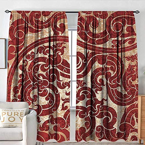 Blackout Curtains for Bedroom/Living Room Antique,Thai Culture Vector Abstract Background Flower Pattern Wallpaper Design Artwork Print,Ruby,Insulated Draperies for Office Nursery -
