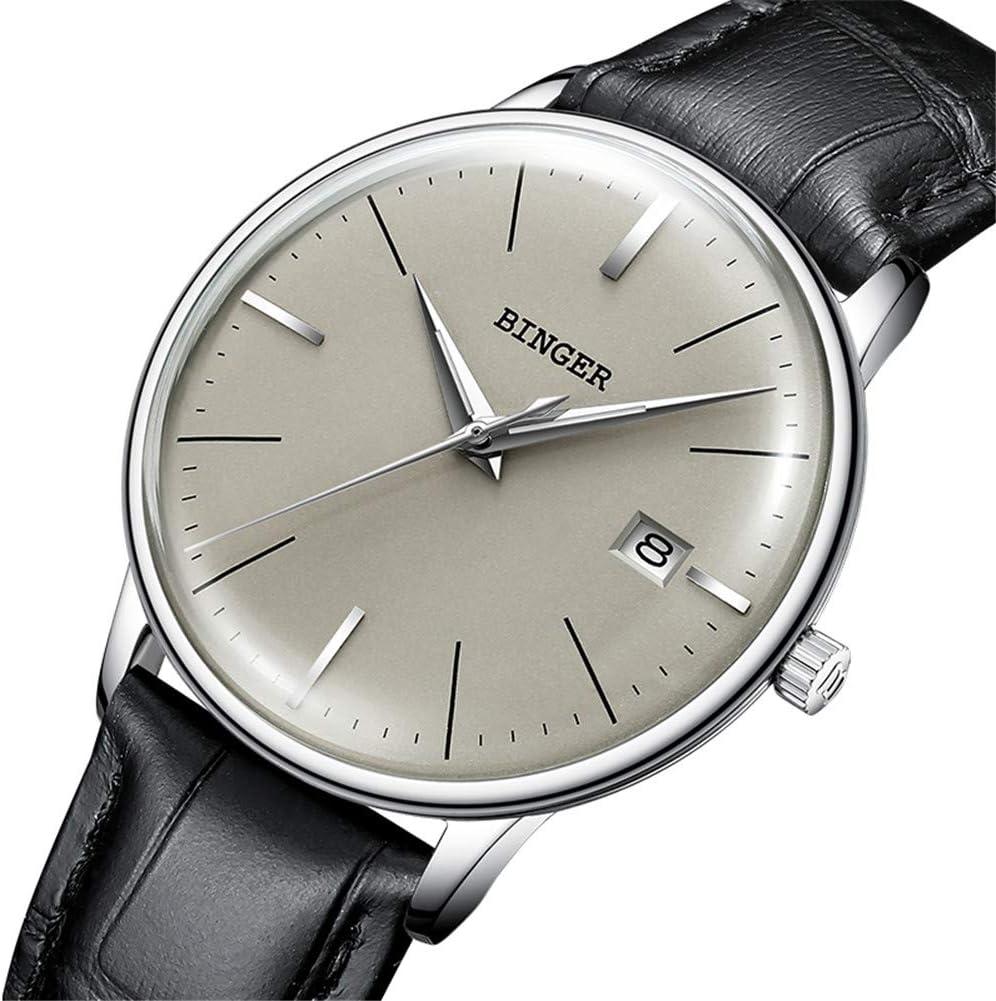 BINGER Reloj Automático Suiza Movimiento Zafiro de Japon Reloj mecánico Hombre Correa de Acero Inoxidable con Espejo Gris,Calendario 5078,I