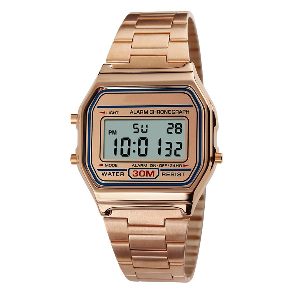 VIGOROSO Men Lady Vintage Retro Gold Stainless Steel Digital Casual Watch Alarm Stopwatch