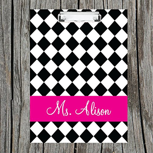 Black Diamond Monogrammed Double Sided Hardboard Clipboard Monogrammed Clipboard