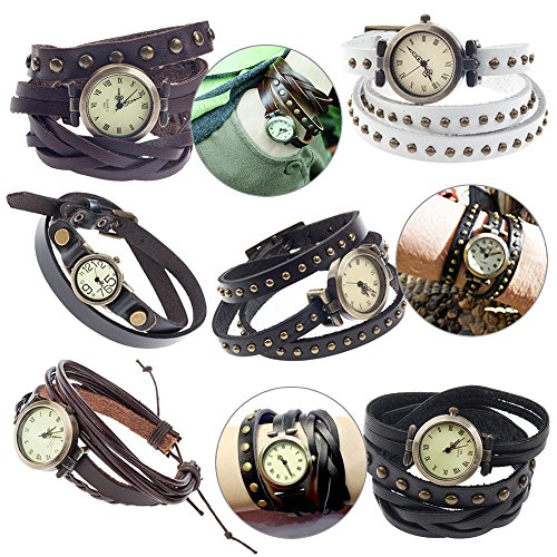 - Set / Kit / Lot of 6pcs Ladies Womens Girls Analogue Quartz Bracelets Wrist Watches / Bangles Wristwatches With Leather Wrap Around Straps / Bands / Ropes In Different Colors and Metal Studs