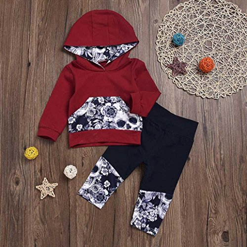 Nevera 2Pcs Toddler Girls Boys Flower Skull Bone Hooded Tops+Pants Outfits Set (Wine, 6M) by Nevera (Image #2)