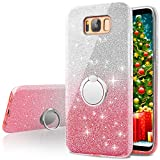 Cheap Galaxy S8 Case,Silverback Girls Bling Glitter Sparkle Cute Phone Case With 360 Rotating Ring Stand, Soft TPU Outer Cover + Hard PC Inner Shell Skin for Samsung Galaxy S8 -Pink