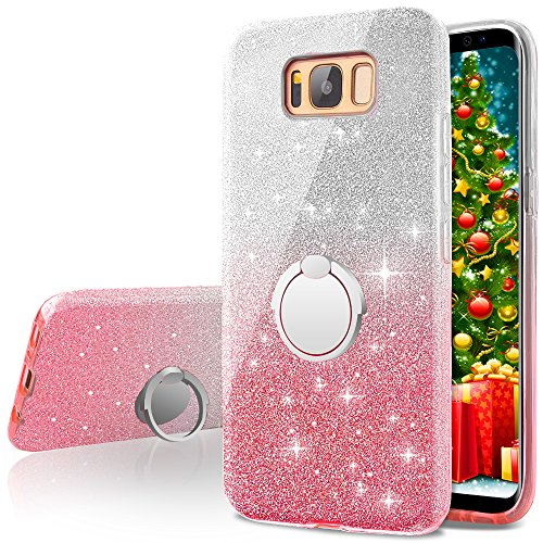 Galaxy S8 Case,Silverback Girls Bling Glitter Sparkle Cute Phone Case With 360 Rotating Ring Stand, Soft TPU Outer Cover + Hard PC Inner Shell Skin for Samsung Galaxy S8 -Pink