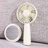 CJSHVR Handheld Fan Mini Rechargeable Portable Portable Large Wind Quiet Mini Fan With Cosmetic Mirror,White
