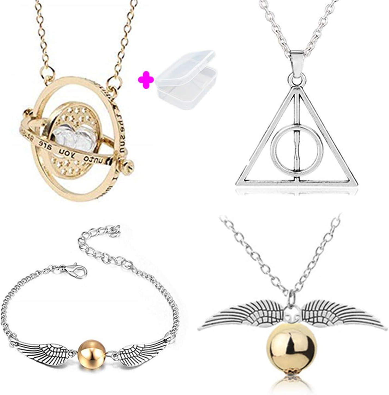 PPX Juego de 4 Collares de Harry Potter con Forma de Serpiente Dorada para los Fans de Harry Potter, colección de Regalos mágicos para Cosplay, joyería para Mujer y niña,con Caja Transparente