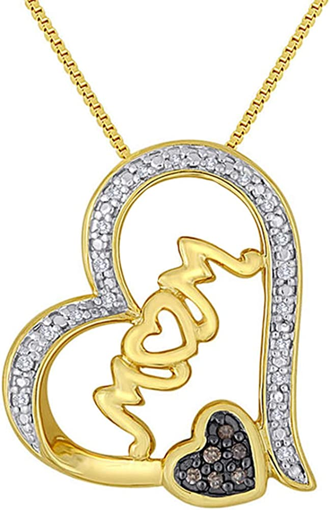 """Dividiamonds 1//10 CT Brown /& White CZ Diamond Mom Heart Pendant 18/"""" Necklace in 14K Yellow Gold Plated"""