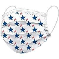 Face Mask Adult, Patriotic Stars & USA designs, 20 masks per box, 5 each of 4 designs