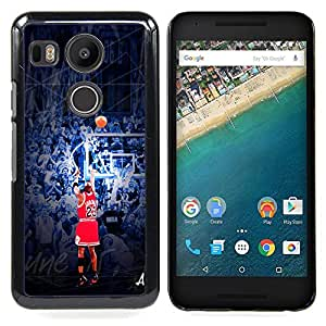 - 23 J0rdan Basketball - - Cubierta del caso de impacto con el patr??n Art Designs FOR LG Google Nexus 5X Queen Pattern