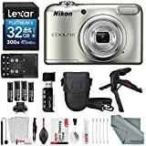 Nikon COOLPIX A10 Digital Camera Deluxe Bundle with XPIX Kit + AA Batteries w/ Charger + 32 GB + Tripod + Case + SD Reader + FiberTique Cloth