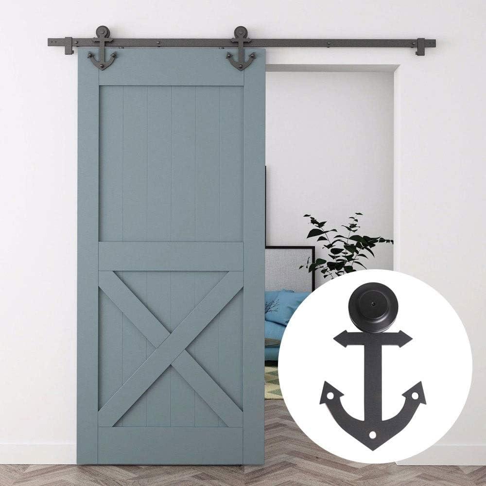 Deslizamiento de madera de la puerta Hardware Kit Negro, Bypass puerta corrediza de la pista Kit, ancla rústica formada, de acero interior, correderas armario individual Kit (Size : 1M-Single door)
