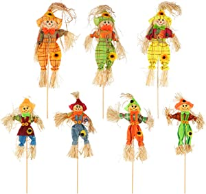 Moguer 7Pcs Fall Harvest Scarecrow Decor, Winter Small Scarecrow with Bamboo Stick Decoration for Garden,Yard