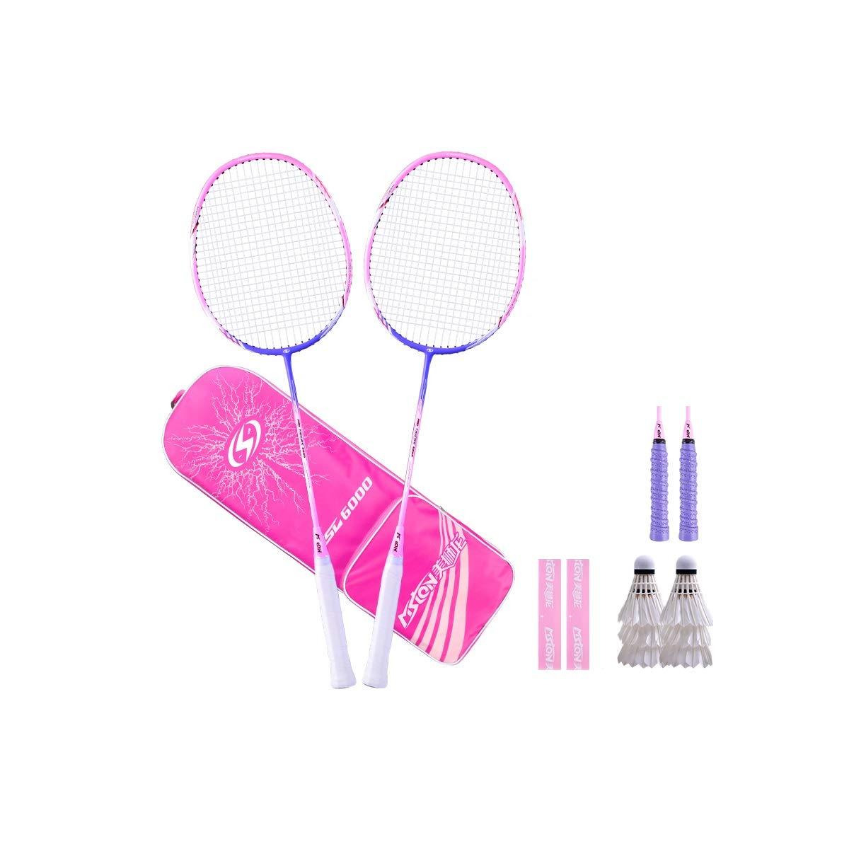 Badminton Racket, Ultra-Light Carbon Adult Resistant to Durable, Men and Women Double Shot Suit Offensive Full, Multi-Color (Color : A5)