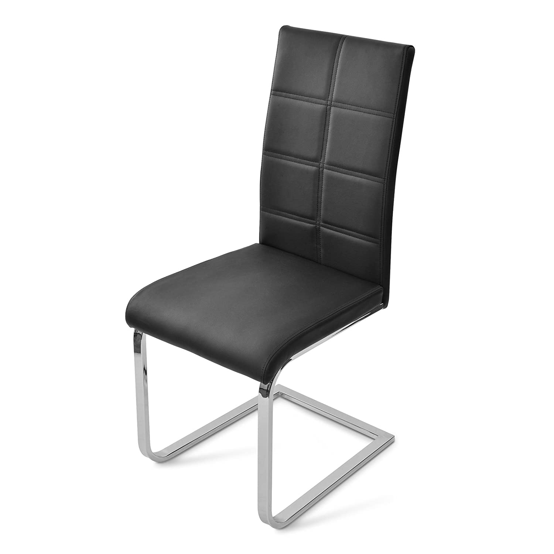 SAM® Esszimmer Freischwinger Stuhl MARA in schwarz mit chrom farbenem Gestell