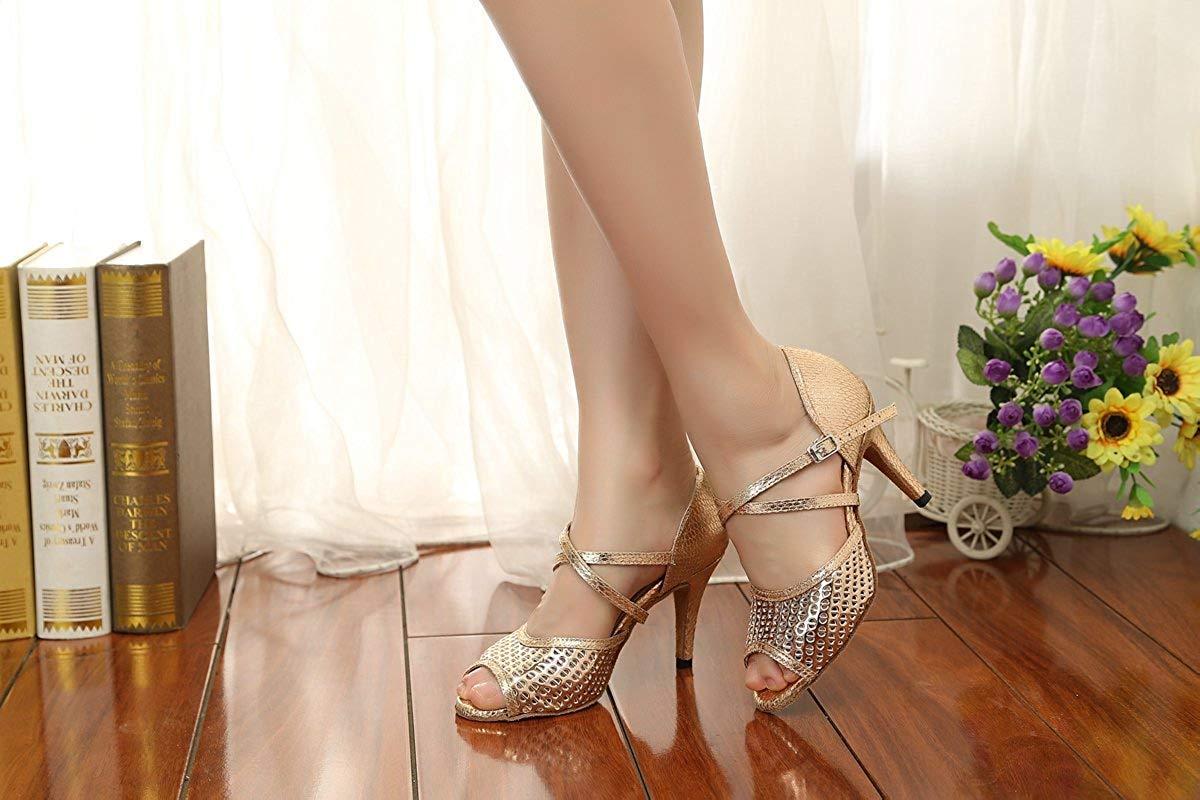 HhGold GL256 Damen Cut-Out Atmungsaktive Heel Synthetische Sport Tanzschuhe (Farbe   Gold-8.5cm Heel Atmungsaktive Größe   8 UK) a421b6