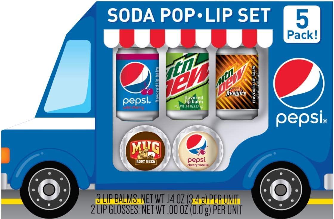 Taste Beauty for Pepsi Soda Pop Truck Lip Balm Set- Wild Cherry, MTN Dew, Livewire, Root Beer & Cherry Vanilla Flavors