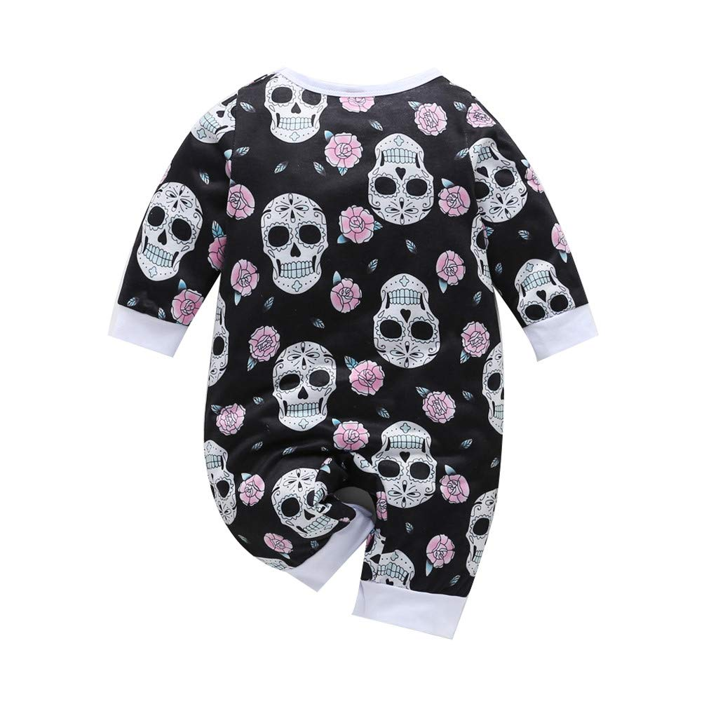 Halloween Infant Toddler Baby Girl Romper Skull Long Sleeve Bodysuit Jumpsuit Headband Fall Outfit Clothes
