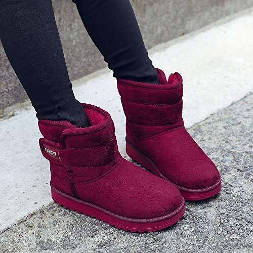 VILOCY Girl's Boy's Winter Outdoor Snow Boots Suede Slip-On Full Fur Lined Warm Ankle Shoes Red,36 by VILOCY (Image #7)