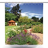 gazebo curtains home depot vanfan-Antibacterial Shower Curtains Beautiful Garden With Blooming Roses Brick Path And A Small Gazebo Bath Decorations Bathroom Decor Sets With Hooks(60 x 72 inches)