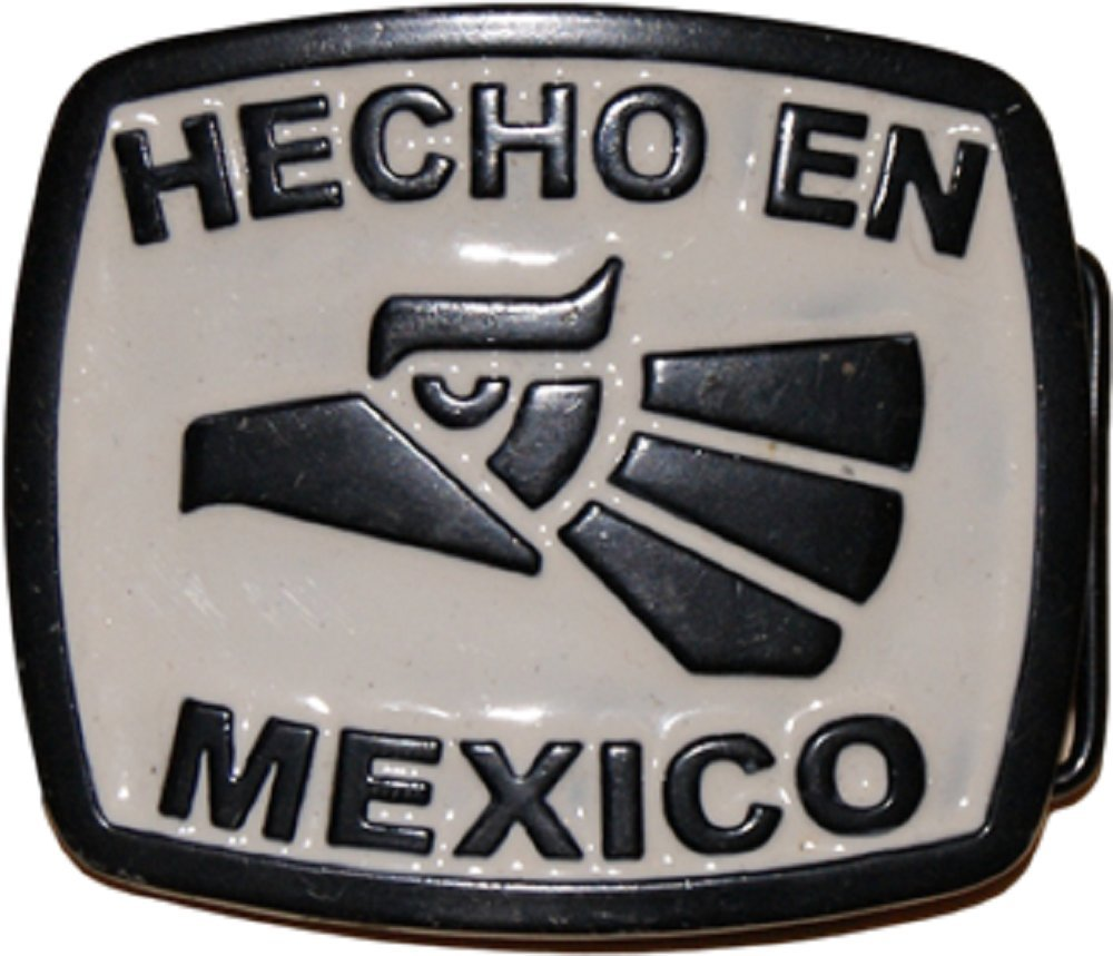 Translation: Made in Mexico Metal Belt Buckle AES Hecho En Mexico Eagle