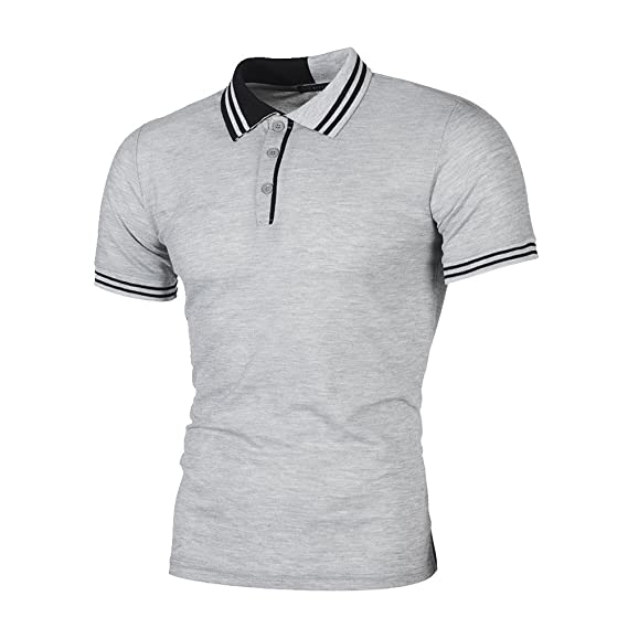 c5f3c64ef88 Ulanda-EU Mens T-Shirts Summer Short Sleeve Business Polo Tops Casual  Formal Regular Fit Polo Blouse Designer for Men Shirts Clothes   Amazon.co.uk  Clothing