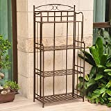 International Caravan Santa Fe Iron Folding Bakers Rack in Bronze