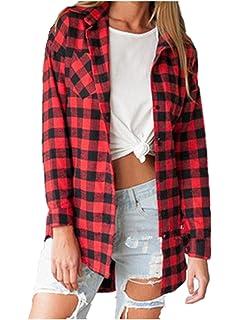 f5b5819c7d Ansenesna-blouses Chemisier Femme Manche Longue Blouse Coton Col Chemise  T-Shirt à Carreaux