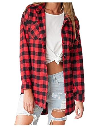 fd3f994e65 Ansenesna-blouses Chemisier Femme Manche Longue Blouse Coton Col Chemise  T-Shirt à Carreaux