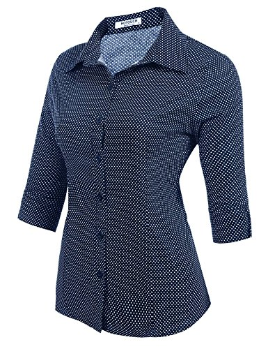 HOTOUCH - Camisas - Button Down - manga 3/4 - para mujer Typ1-Navy Tupfen