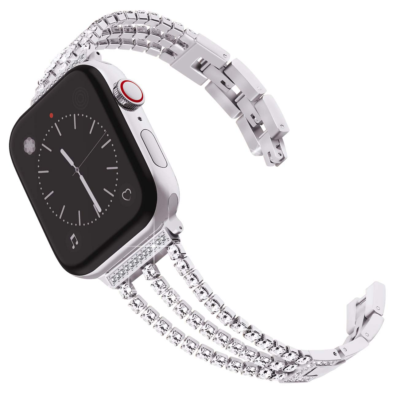 Stainless Steel Band for Women Wristband Strap Cuff Bangle Bracelet with Diamond Replacement for iWatch
