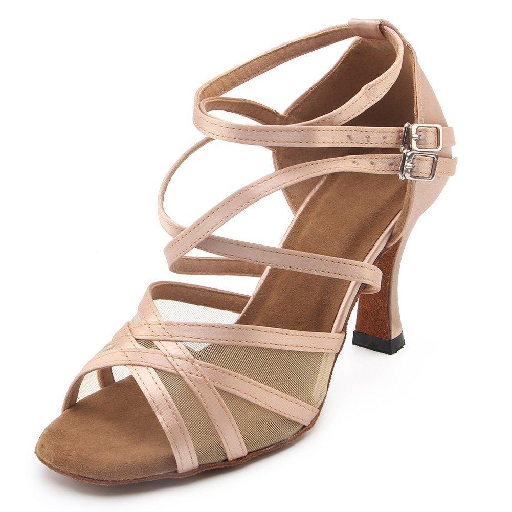 Yiteli Women's Peep Toe Mesh Satin Ballroom Dance Shoes Salsa Latin Tango Party Wedding Professional Dance Sandals,8 B(M) US