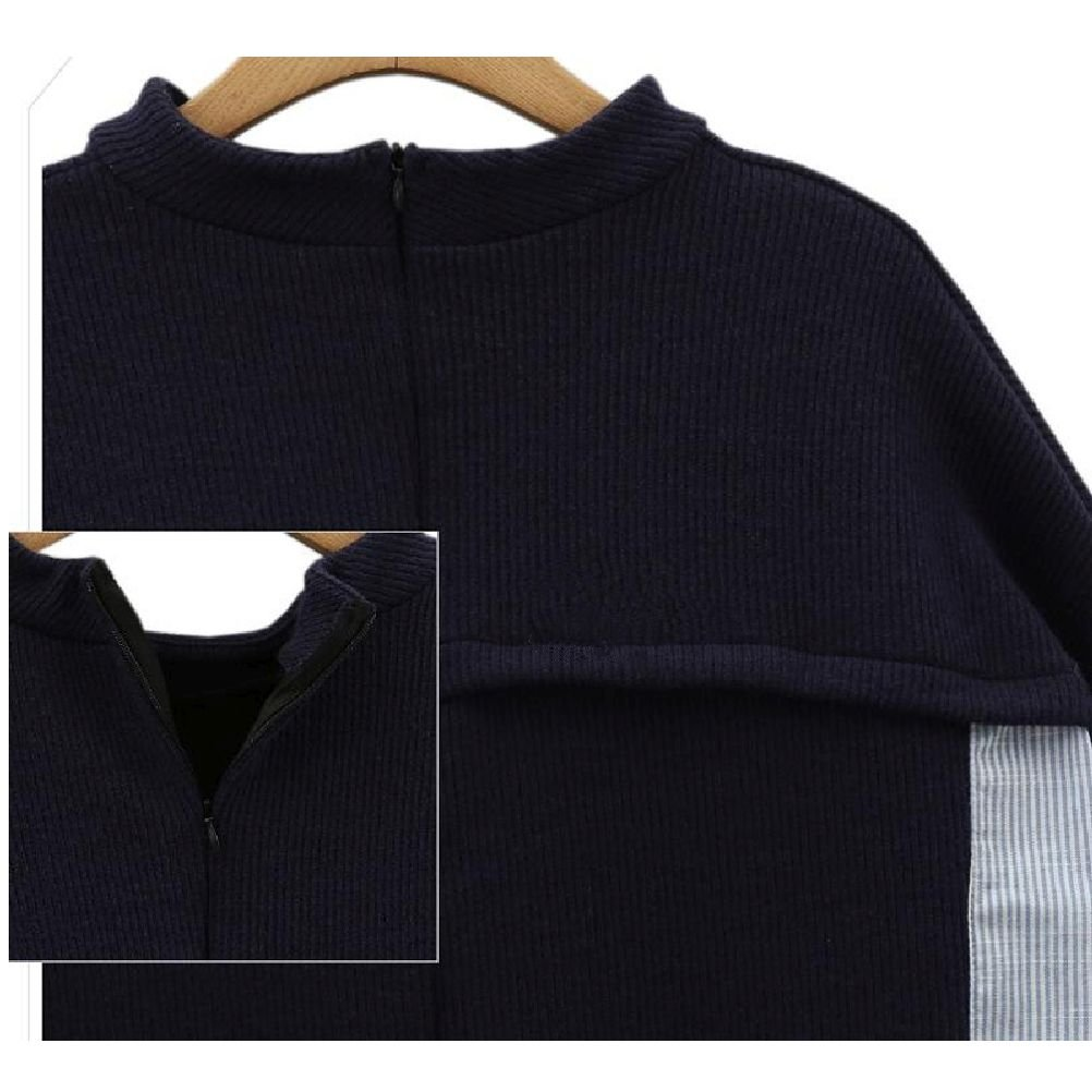 Jiuytok Clothing Striped Patchwork Navy Pullover O Neck Loose Sweatshirt Plus Size Female Top