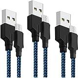 Cable Micro USB Yosou Cargador Android[3Pack, 1M+1.5M+2M] USB Cable Trenzado de Nylon - Sincronización para Dispositivos Android, Samsung Galaxy S7/S6/S5, Sony, Nexus, LG, Motorola, Nokia , Kindle, TCL, y Más-(Azul & Negro)
