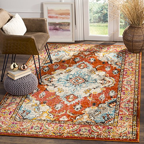 Safavieh Monaco Collection MNC243H Vintage Oriental Orange and Light Blue Distressed Area Rug (8' x 10') ()