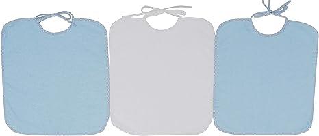 Ti TIN - Pack 3 Baberos de Rizo, Para Bebés con Más de 1 Año, Cierre con Cintas, 90% Algodón, Colores Sólidos Azul Pastel, 32x36 cm: Amazon.es: Bebé