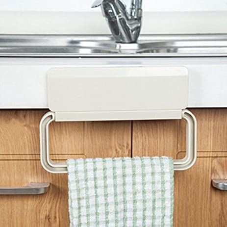 Iuhan Portable Kitchen Trash Bag Holder Incognito Cabinets Cloth Rack Towel  Rack (Beige)