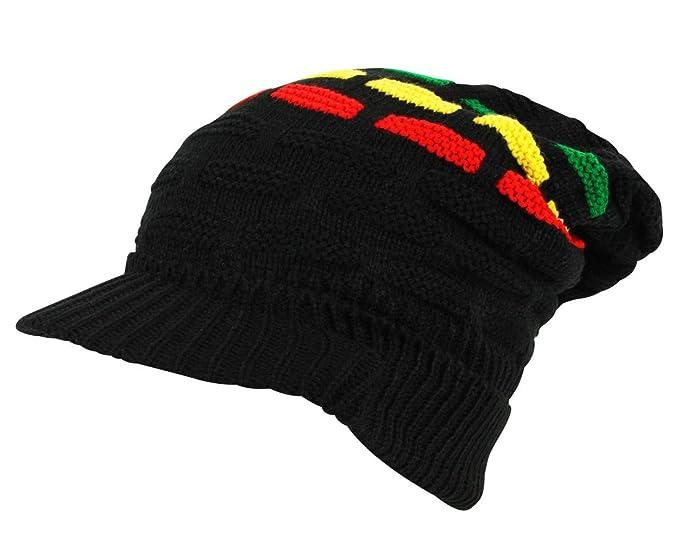 4cb619ad6 Itzu Rasta Oversized Knit Slouch Peak Beanie Cap Hat in Black (3 ...
