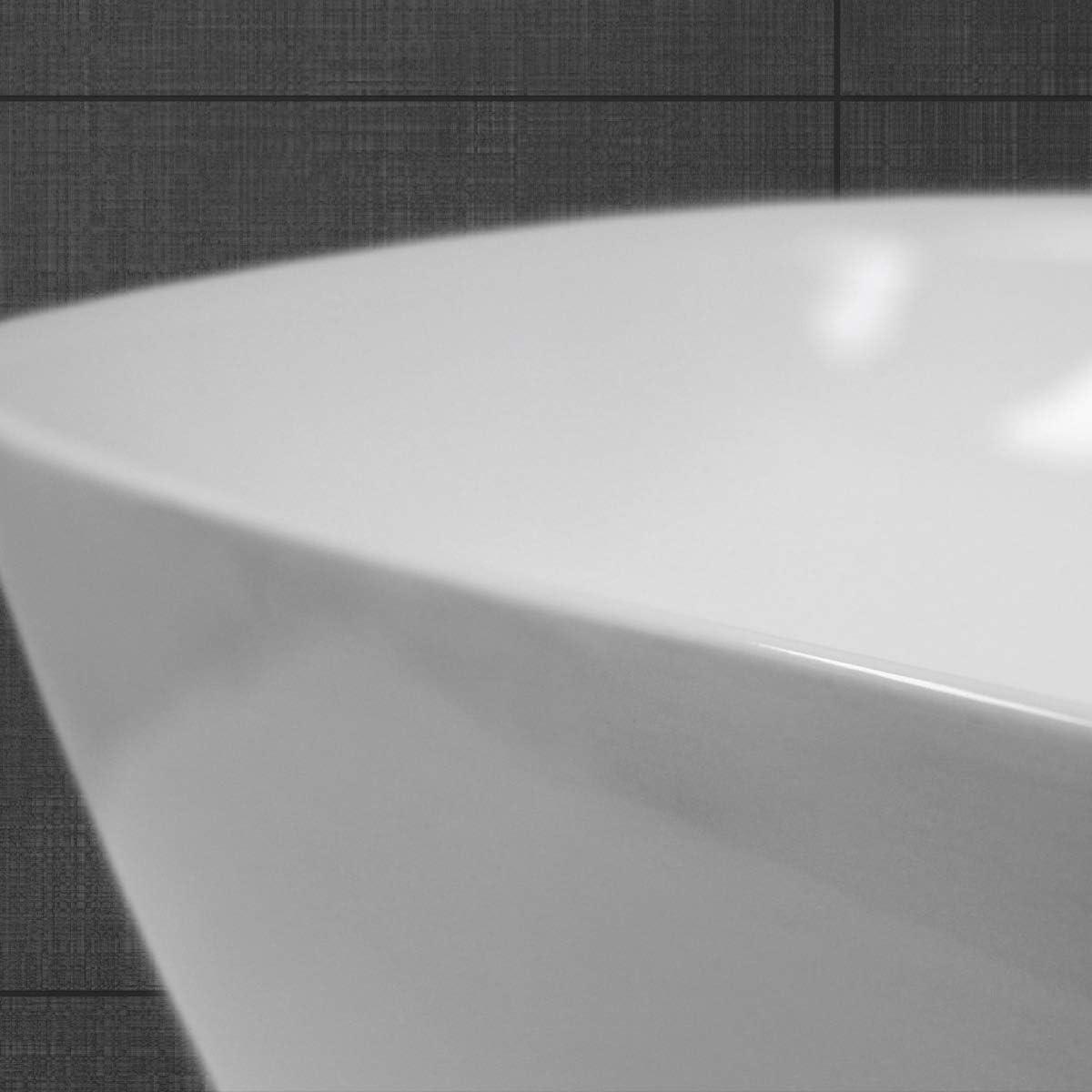 Lavadero Blanco desag/üe con rebosadero de lat/ón Cromado Dise/ño Angular Lavamanos cer/ámico 505x395x135 mm ECD Germany Lavabo sobre encimera Incl La v/álvula de desag/üe Pop-up /¼